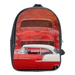 Classic Car Chevy Bel Air Dodge Red White Vintage Photography School Bags (xl)