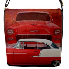 Classic Car Chevy Bel Air Dodge Red White Vintage Photography Flap Messenger Bag (s) by yoursparklingshop