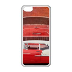 Classic Car Chevy Bel Air Dodge Red White Vintage Photography Apple Iphone 5c Seamless Case (white)
