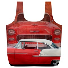 Classic Car Chevy Bel Air Dodge Red White Vintage Photography Full Print Recycle Bags (l)