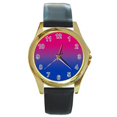 Pink Blue Purple Round Gold Metal Watch by Jojostore