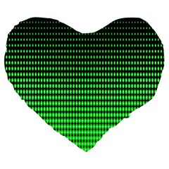 Neon Green And Black Halftone Copy Large 19  Premium Heart Shape Cushions by Jojostore