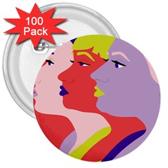 Three Beautiful Face Copy 3  Buttons (100 Pack)  by Jojostore