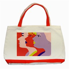 Three Beautiful Face Copy Classic Tote Bag (red) by Jojostore