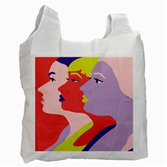 Three Beautiful Face Copy Recycle Bag (two Side)  by Jojostore
