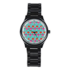 Tulips Floral Flower Stainless Steel Round Watch by Jojostore