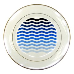 Water White Blue Line Porcelain Plates