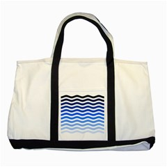 Water White Blue Line Two Tone Tote Bag