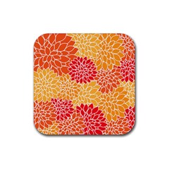Vintage Floral Flower Red Orange Yellow Rubber Coaster (square)  by Jojostore