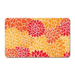 Vintage Floral Flower Red Orange Yellow Magnet (rectangular)