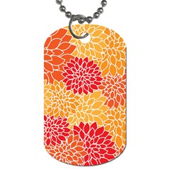 Vintage Floral Flower Red Orange Yellow Dog Tag (two Sides) by Jojostore