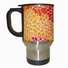 Vintage Floral Flower Red Orange Yellow Travel Mugs (white) by Jojostore