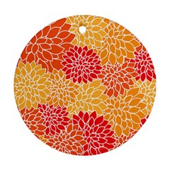 Vintage Floral Flower Red Orange Yellow Round Ornament (two Sides)  by Jojostore