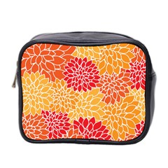 Vintage Floral Flower Red Orange Yellow Mini Toiletries Bag 2 Side