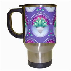 Background Floral Pattern Purple Travel Mugs (white) by Amaryn4rt