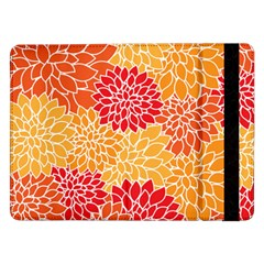 Vintage Floral Flower Red Orange Yellow Samsung Galaxy Tab Pro 12 2  Flip Case by Jojostore