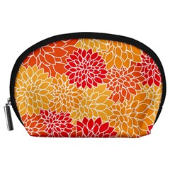 Vintage Floral Flower Red Orange Yellow Accessory Pouches (large)