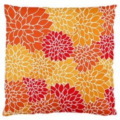 Vintage Floral Flower Red Orange Yellow Large Flano Cushion Case (two Sides) by Jojostore