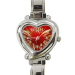Color Gold Yellow Background Heart Italian Charm Watch Front