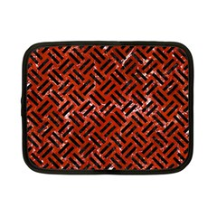 Woven2 Black Marble & Red Marble (r) Netbook Case (small)