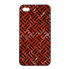 Woven2 Black Marble & Red Marble (r) Apple Iphone 4/4s Seamless Case (black) by trendistuff