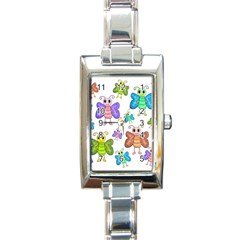 Colorful, Cartoon Style Butterflies Rectangle Italian Charm Watch by Valentinaart