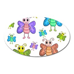 Colorful, Cartoon Style Butterflies Oval Magnet