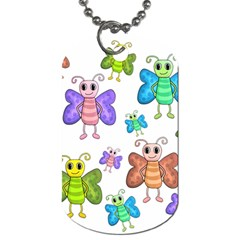 Colorful, Cartoon Style Butterflies Dog Tag (two Sides) by Valentinaart