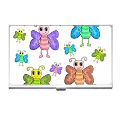 Colorful, Cartoon Style Butterflies Business Card Holders by Valentinaart