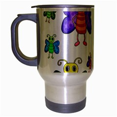 Colorful, Cartoon Style Butterflies Travel Mug (silver Gray) by Valentinaart
