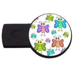 Colorful, Cartoon Style Butterflies Usb Flash Drive Round (4 Gb)  by Valentinaart