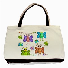 Colorful, Cartoon Style Butterflies Basic Tote Bag by Valentinaart