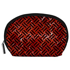 Woven2 Black Marble & Red Marble (r) Accessory Pouch (large) by trendistuff