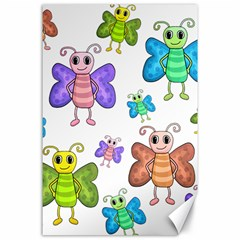 Colorful, Cartoon Style Butterflies Canvas 24  X 36  by Valentinaart