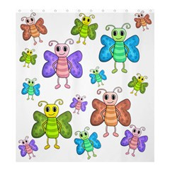 Colorful, Cartoon Style Butterflies Shower Curtain 66  X 72  (large)  by Valentinaart