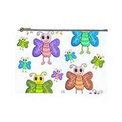Colorful, Cartoon Style Butterflies Cosmetic Bag (large)  by Valentinaart