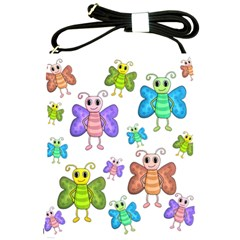 Colorful, Cartoon Style Butterflies Shoulder Sling Bags by Valentinaart