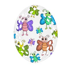 Colorful, Cartoon Style Butterflies Ornament (oval Filigree)  by Valentinaart
