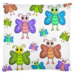 Colorful, Cartoon Style Butterflies Large Cushion Case (two Sides)
