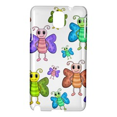 Colorful, Cartoon Style Butterflies Samsung Galaxy Note 3 N9005 Hardshell Case by Valentinaart