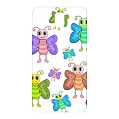 Colorful, Cartoon Style Butterflies Samsung Galaxy Note 3 N9005 Hardshell Back Case by Valentinaart
