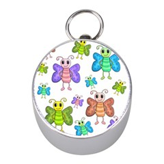 Colorful, Cartoon Style Butterflies Mini Silver Compasses by Valentinaart