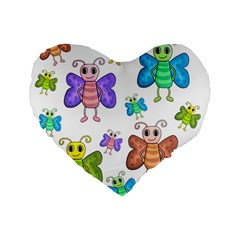 Colorful, Cartoon Style Butterflies Standard 16  Premium Flano Heart Shape Cushions by Valentinaart