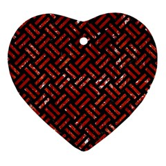 Woven2 Black Marble & Red Marble Heart Ornament (two Sides) by trendistuff
