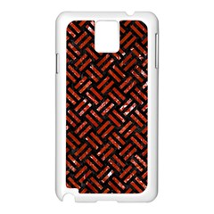 Woven2 Black Marble & Red Marble Samsung Galaxy Note 3 N9005 Case (white) by trendistuff