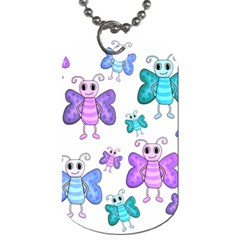 Cute Butterflies Pattern Dog Tag (one Side) by Valentinaart
