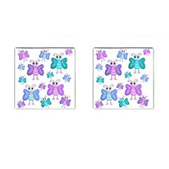 Cute Butterflies Pattern Cufflinks (square) by Valentinaart