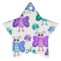 Cute Butterflies Pattern Star Ornament (two Sides)  by Valentinaart