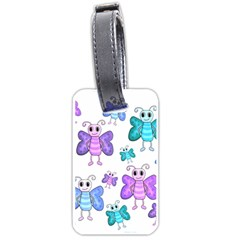 Cute Butterflies Pattern Luggage Tags (one Side)  by Valentinaart