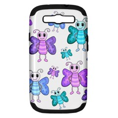 Cute Butterflies Pattern Samsung Galaxy S Iii Hardshell Case (pc+silicone) by Valentinaart